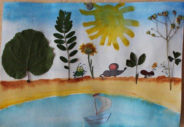 Картинки из сухих листьев своими руками на тему осень