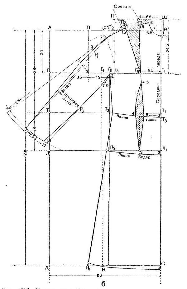 Выкройка трикотажного платья с рукавами А. Корфиати 19