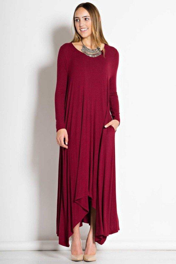 Платья трапеции с длинными рукавами