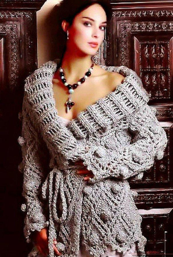 Схема для вязанного пальто спицами для женщин 92
