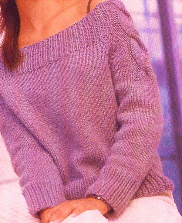 Вязание свитера от горловины с реглан 83