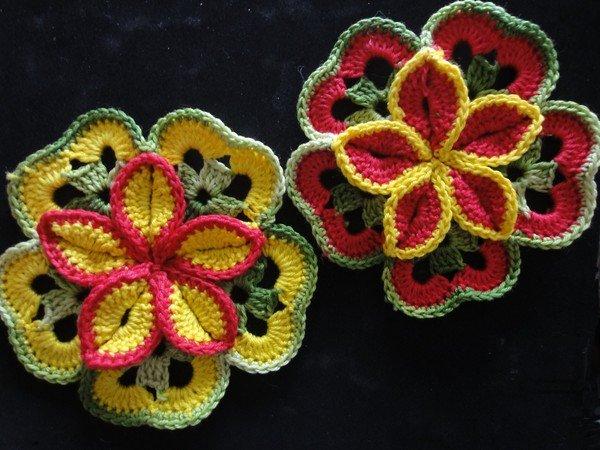 Крючком как вязать цветочный узор