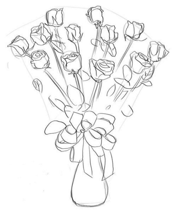 Рисунки букетов цветов карандашом