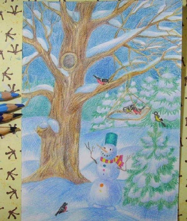 Рисунок своими руками на новый год карандашом