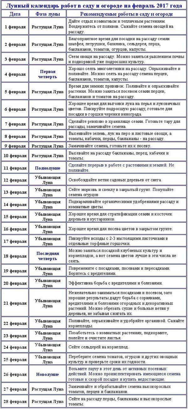 лунный календарь на февоаль 2017 Карасс Фэшн Текстиль