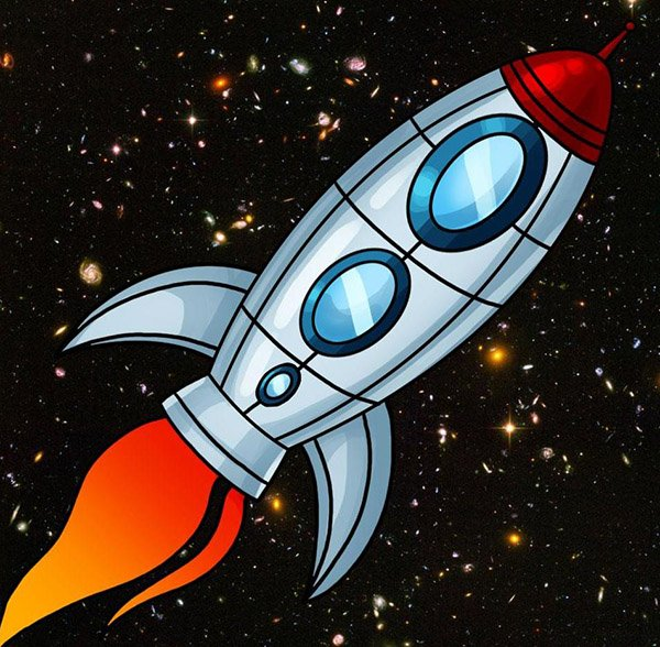 Рисунок космоса для детей красками