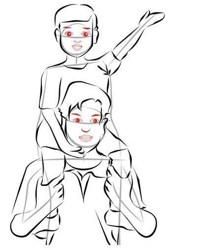 Рисуем женщина с ребенком на руках