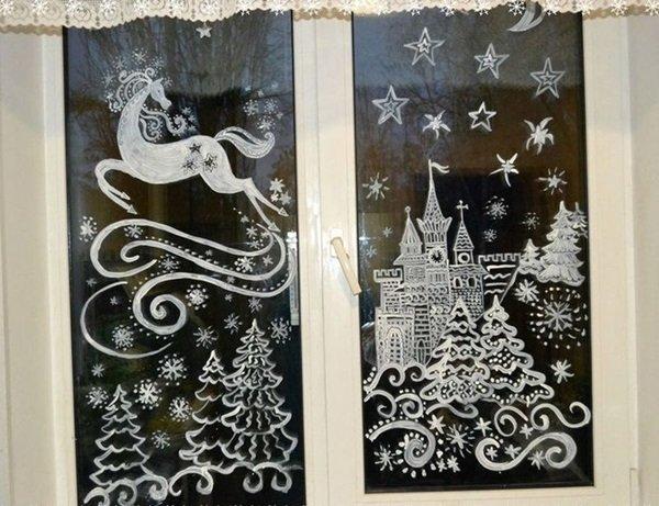 Рисунки на стекле на новый год зубной пастой