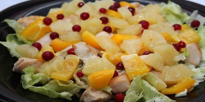 Куриный салат с ананасами рецепт с фото классический