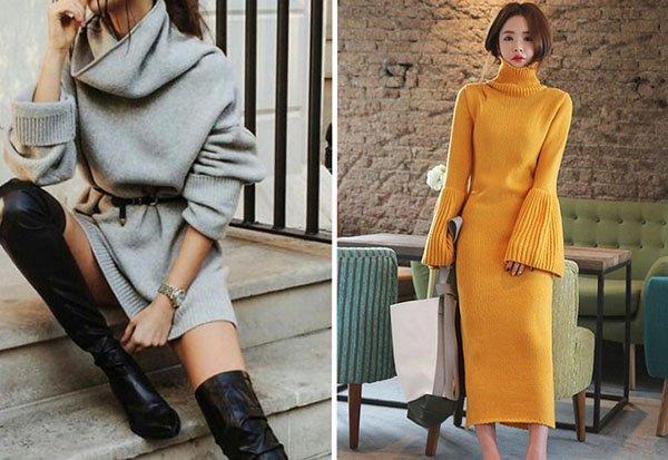 С чем носить вязаное платье: стильные варианты с фото