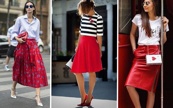 C чем носить красную юбку: лучшие образы 2018 для модниц