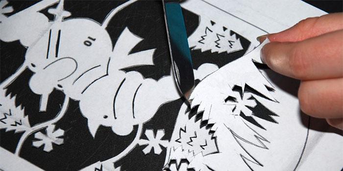 Новогодние трафареты 2019 на окна для вырезания из бумаги на год Собаки (скачать и распечатать) изоражения