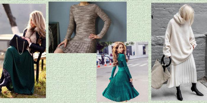 Плиссировка зимой: Как носить модные юбки и платья со складками в холода