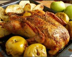 Праздничный рецепт приготовления гуся с яблоками и кусочками чернослива