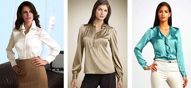 dc5b93dfb5a Как носить атласную блузку  Фасоны атласных блузок. Как правильно ...