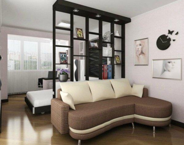 гостиная и спальня в одной комнате с перегородкой гостиная и