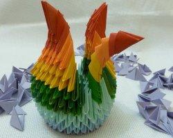 Радужный лебедь из бумаги