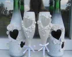 Как украсить свадебные бокалы: оригинальные идеи декора