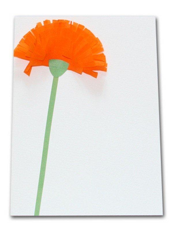 Гвоздика из бумаги на открытку своими
