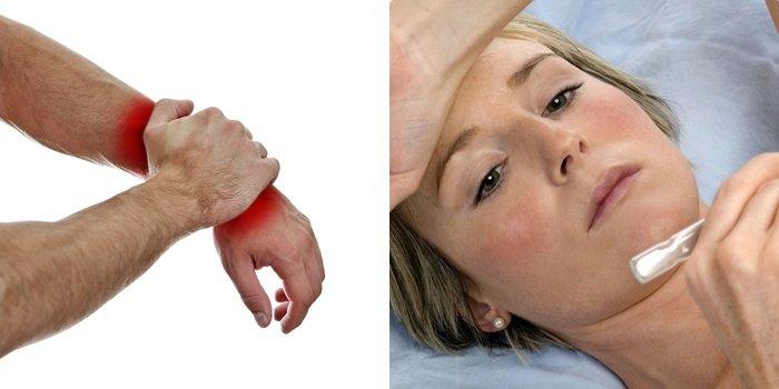 После температуры болит кожа спины и живота