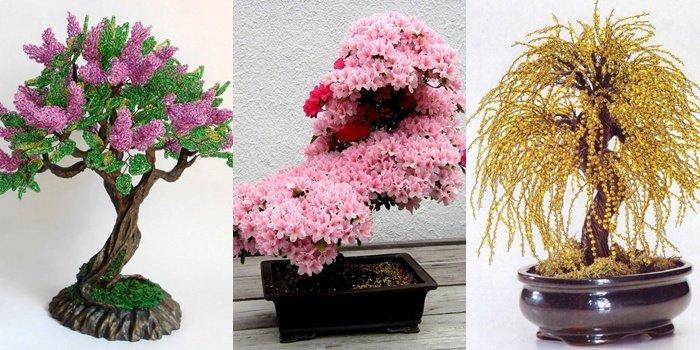 Деревья из бисера: сакура и берёзка