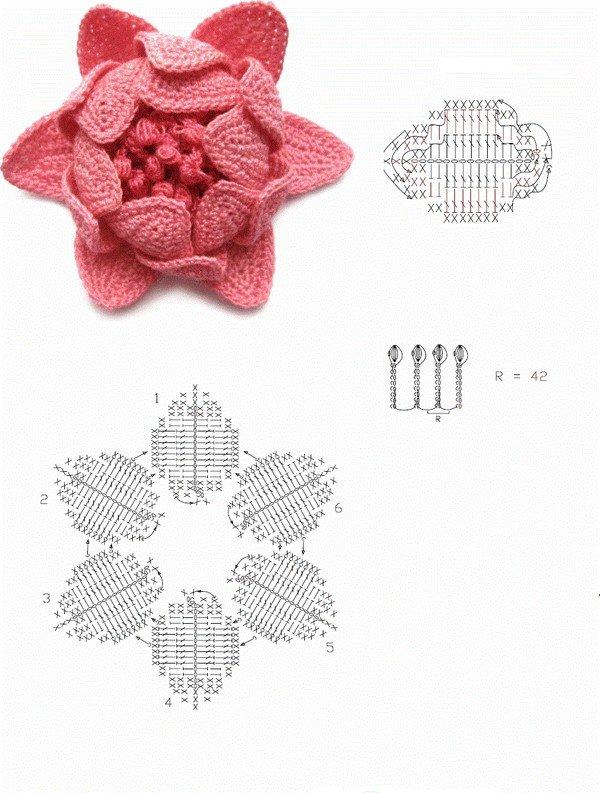 цветы крючком схемы с описанием для начинающих для украшения шапок
