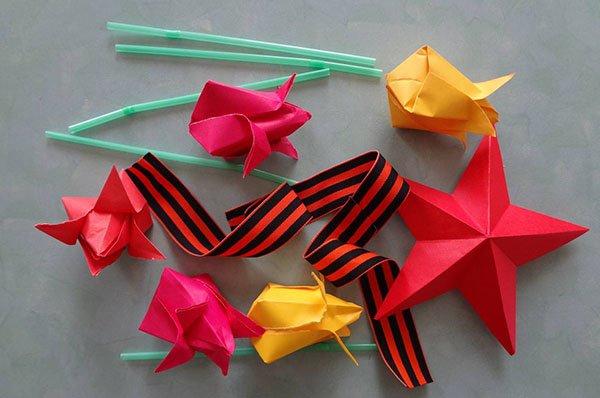 Открытка оригами к дню победы, открытка анимация прикольная