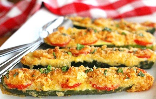 Кабачки с овощным фаршем запеченные в духовке