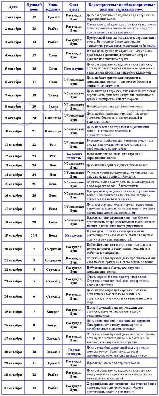 Лунная стрижка на август года: общие правила.