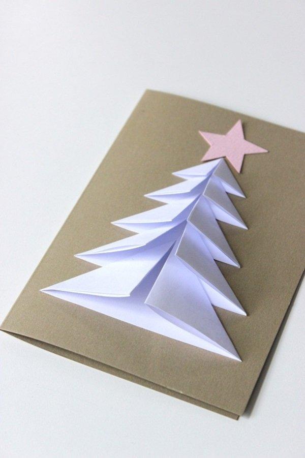 Объемная елка открытка из бумаги своими