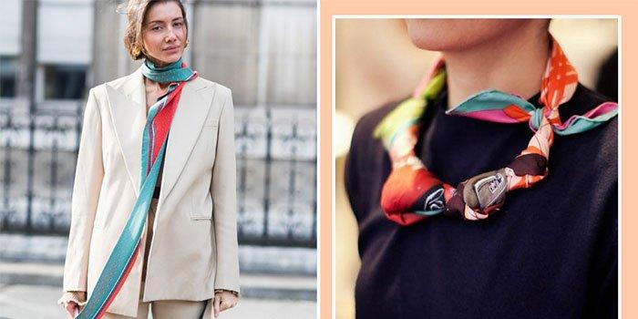 Хит 2018:  шелковый шарф – как его стильно завязать