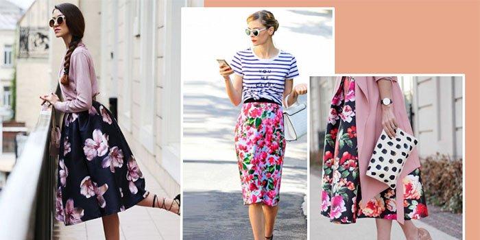 Как носить юбку с цветочным принтом: стильные летние образы 2018