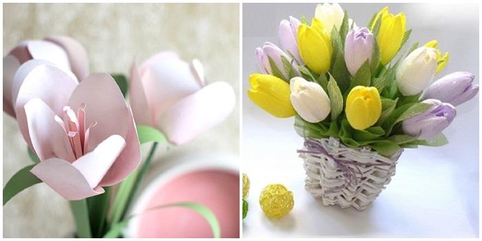 Тюльпаны своими руками из бумаги, атласных лент и ткани: мастер-классы