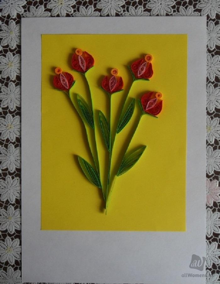 Ревную, открытка из тюльпанов своими руками