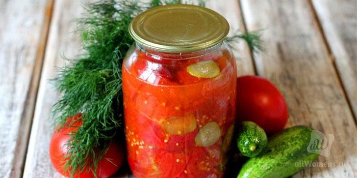 Салат из огурцов и помидоров на зиму: 8 лучших пошаговых рецептов - па